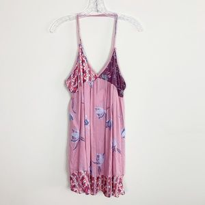 Free People | floral print slip dress pink small